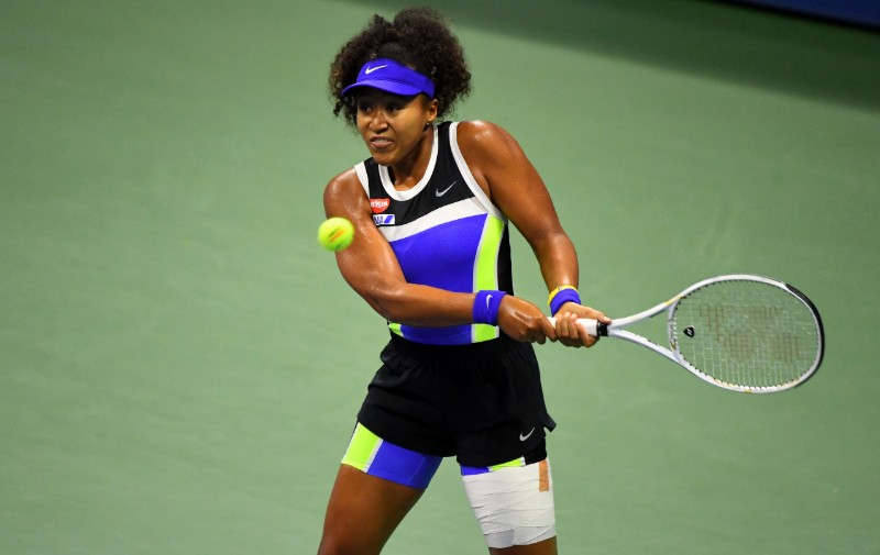 Naomi Osaka of Japan returns the ball against Shelby Rogers of the United States in the womenu00d5s singles quarter-finals match on day nine of the 2020 U.S. Open tennis tournament at USTA Billie Jean King National Tennis Center, in Flushing Meadows, New York, USA, on Sep 8, 2020. Photot: Robert Deutsch-USA TODAY Sports via Reuters