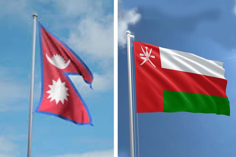 This combo image shows the flags of Nepal (left) and Oman. Image: THT