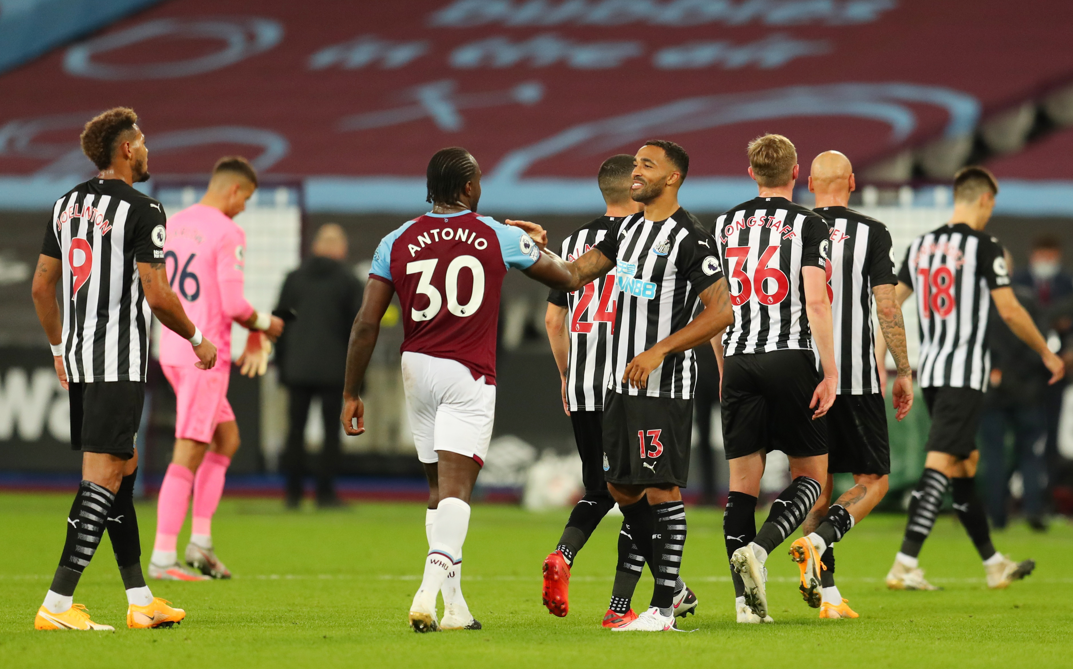 West Ham United's Michail Antonio and Newcastle United's Callum Wilson after the match. Photo: Reuters