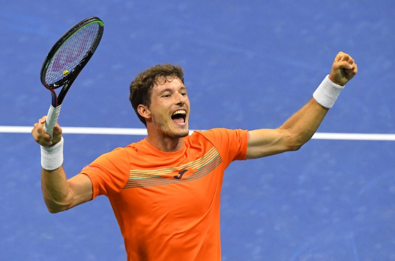Pablo Carreno Busta of Spain celebrates winning the fifth set and match against Denis Shapovalov of Canada in the men's singles quarter-finals match on day nine of the 2020 U.S. Open tennis tournament at USTA Billie Jean King National Tennis Center, in Flushing Meadows, New York, USA, on Sep 8, 2020. Photo: Robert Deutsch-USA TODAY Sports via Reuters
