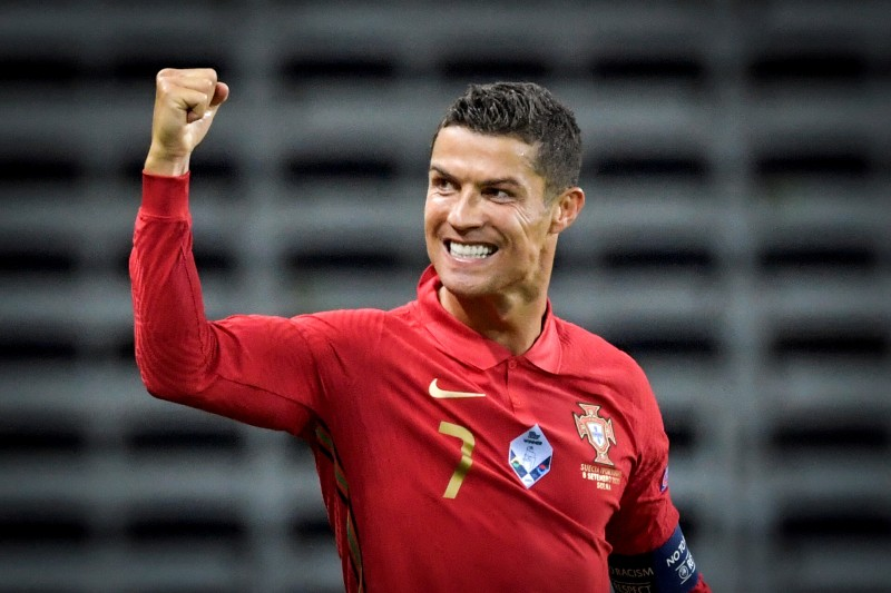Portugal's Cristiano Ronaldo celebrates after scoring during the UEFA Nations League League A Group 3 match between Sweden and Portugal, at Friends Arena, in Stockholm, Sweden, on September 8, 2020. Photo: TT News Agency/ Janerik Henriksson via Reuters