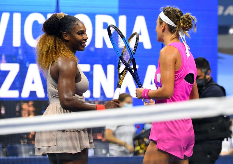 Victoria Azarenka of Belarus, right, taps rackets with Serena Williams of the United States after defeating her in the women's singles semifinals match on day eleven of the 2020 U.S. Open tennis tournament at USTA Billie Jean King National Tennis Center, in Flushing Meadows, New York, USA, on Sep 10, 2020. Photo: Robert Deutsch-USA TODAY Sports via Reuters