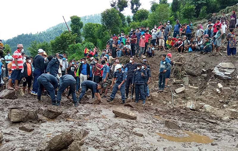 Locals and security personnel carrying out search and rescue operation after a landslide struck Ghumthang in Sindhupalchowk, on Sunday, September 13, 2020. Photo: RSS