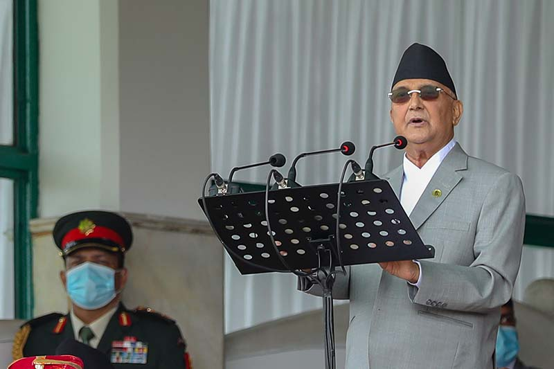 Prime Minister KP Sharma Oli addresses the function held to commemorate the Sixth Constitution Day and the National Day, at Nepali Army Pavilion in Tundikhel, Kathmandu, on Saturday, September 19, 2020. Photo: Rajan Kafle/PM's Secretariat