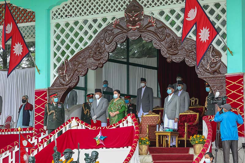 President Bidhya Devi Bhandari, Vice-President Nanda Bahadur Pun, Prime Minister KP Sharma Oli, Chief Justice, ministers, chairpersons of the Constitutional Committees among other government high ranking officials attend special event oganised to mark the sixth Constitution Day and the National Day, at Nepali Army Pavilion in Tundikhel, Kathmandu, on Saturday, September 19, 2020. Photo: Rajan Kafle/PM's Secretariat