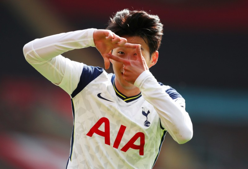 Tottenham Hotspur's Son Heung-min celebrates scoring their second goal during the Premier League match between Southampton and Tottenham Hotspur, at St Mary's Stadium, in Southampton, Britain, on September 20, 2020. Photo: Pool via Reuters