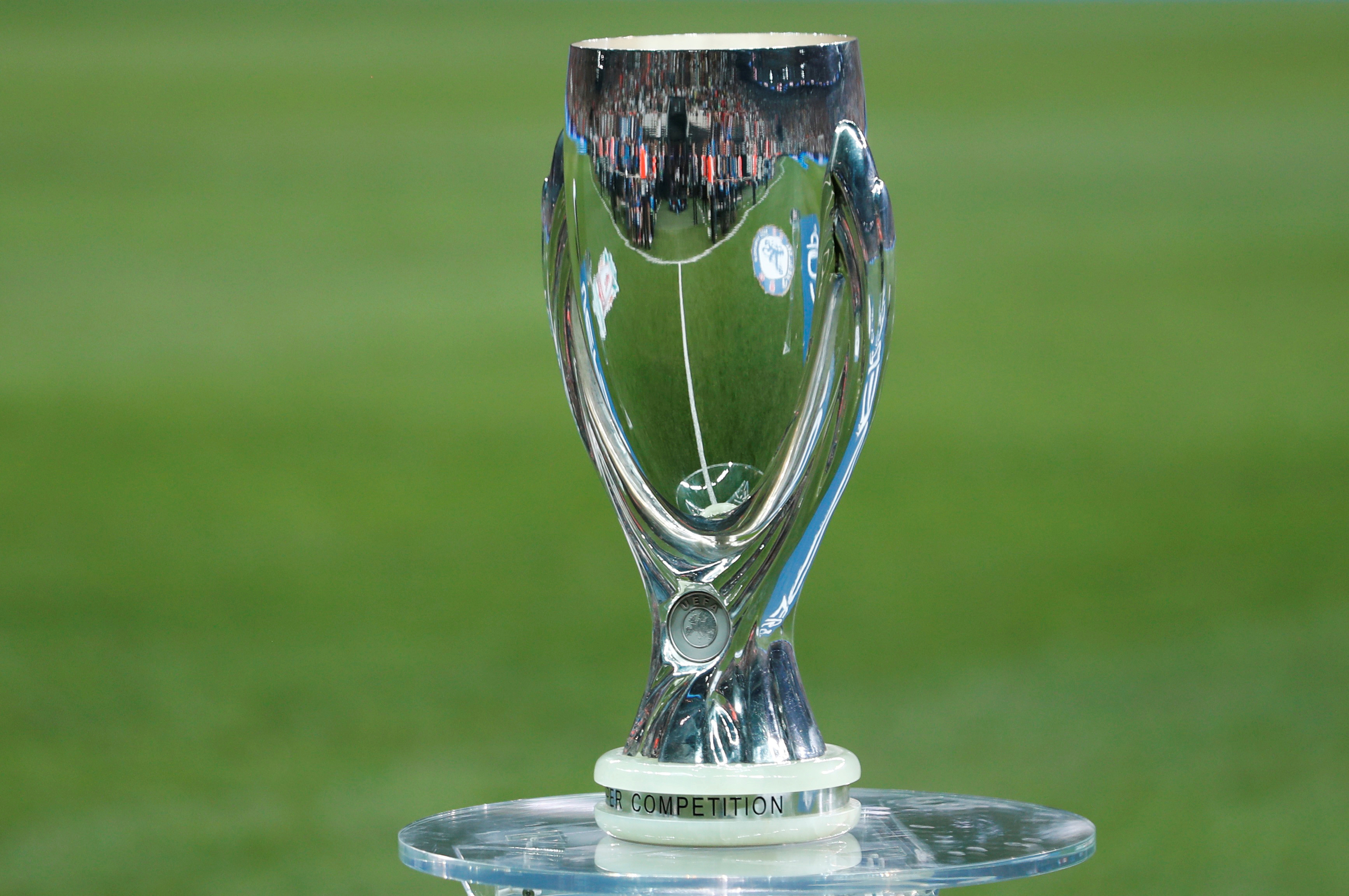 The UEFA Super Cup on display before the match. Photo: Reuters