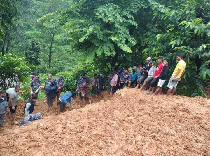 Security Personnel and locals search for the missing people in the Tamagi landslide in Waling Municipality-14, Syangja, on Thursday, September 24, 2020. Photo: Rishi Baral/THT