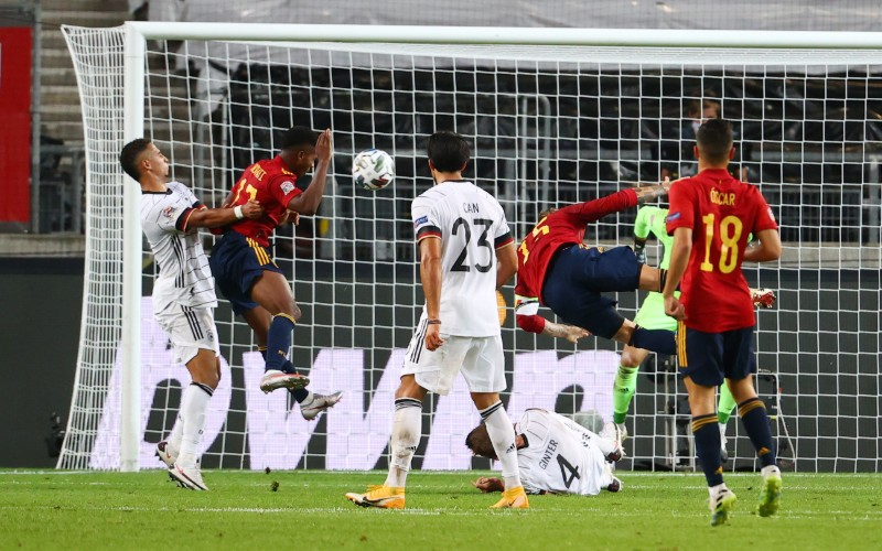 Spain's Ansu Fati scores a goal later disallowed during the UEFA Nations League, League A, Group 4 match between Germany and Spain, at Mercedes-Benz Arena, in Stuttgart, Germany, on  September 3, 2020. Photo: Reuters