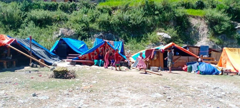 Flood and landslide victims waiting for rehabilitation, in Tajakot Rural Municipality, Humla, on Thursday. Photo: THT