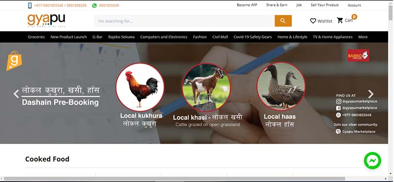 This image shows the homepage of gyapu.com. Image: THT