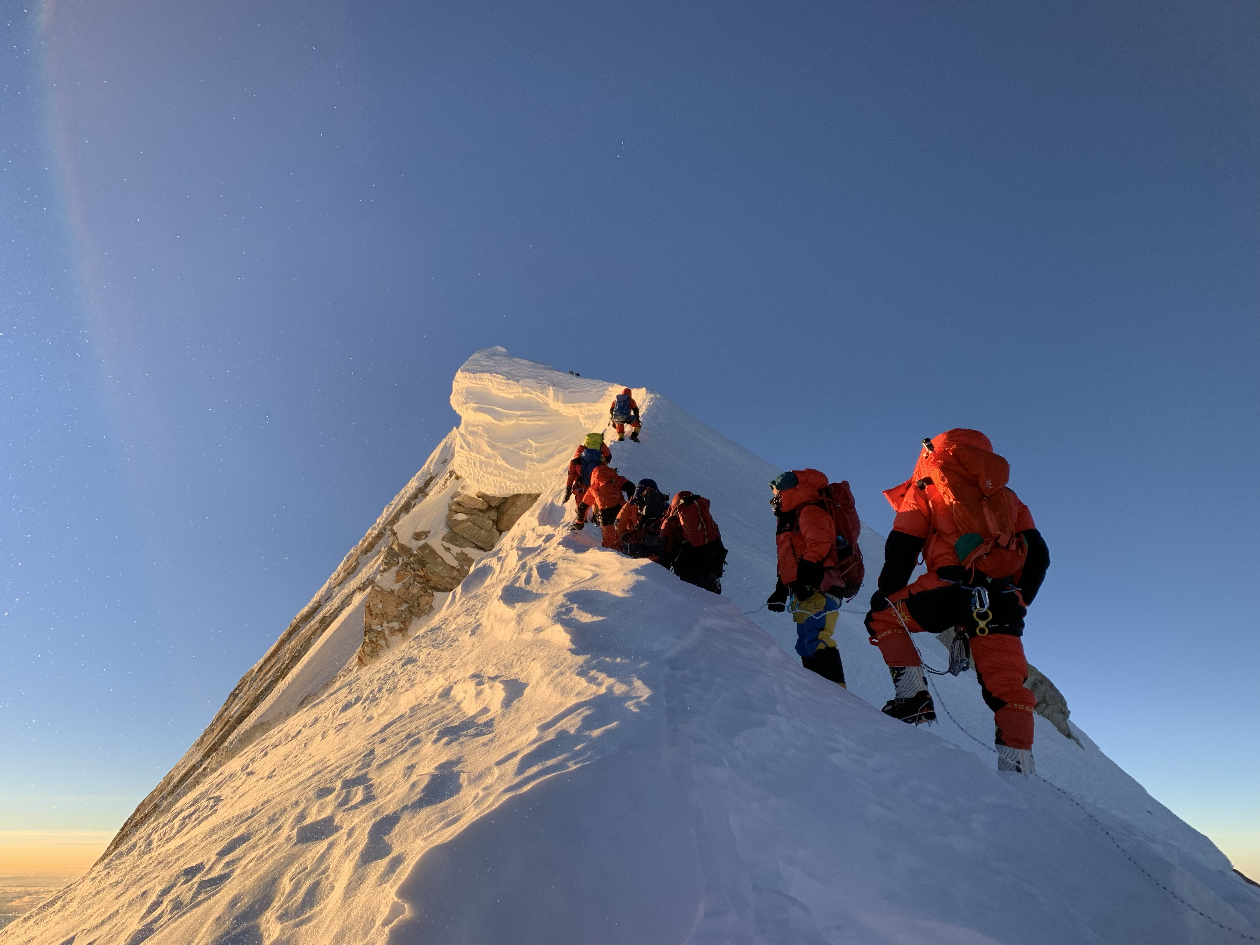 Final steps to the peak: Team of Bahrain (The Royal Body Guard) approaching to the summit of Mt. Manaslu 8163, on October 15, 2020. Photo Courtesy: Seven Summit Treks