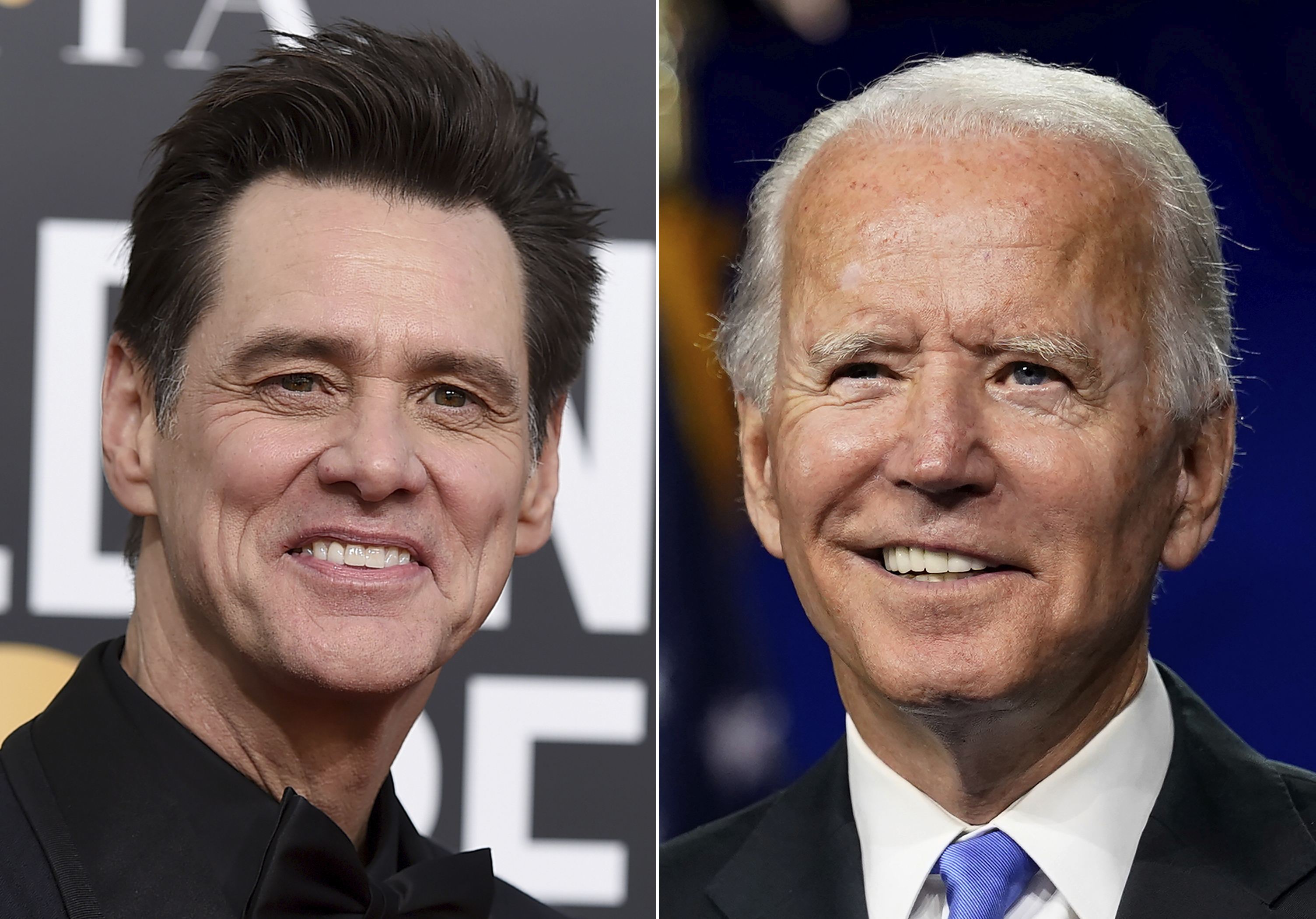 FILE - Actor-comedian Jim Carrey appears at the 76th annual Golden Globe Awards in Beverly Hills, Calif., on Jan. 6, 2019, left, and Democratic presidential candidate former Vice President Joe Biden speaks during the fourth day of the Democratic National Convention, in Wilmington, Del., on Aug. 20, 2020. Photo: AP