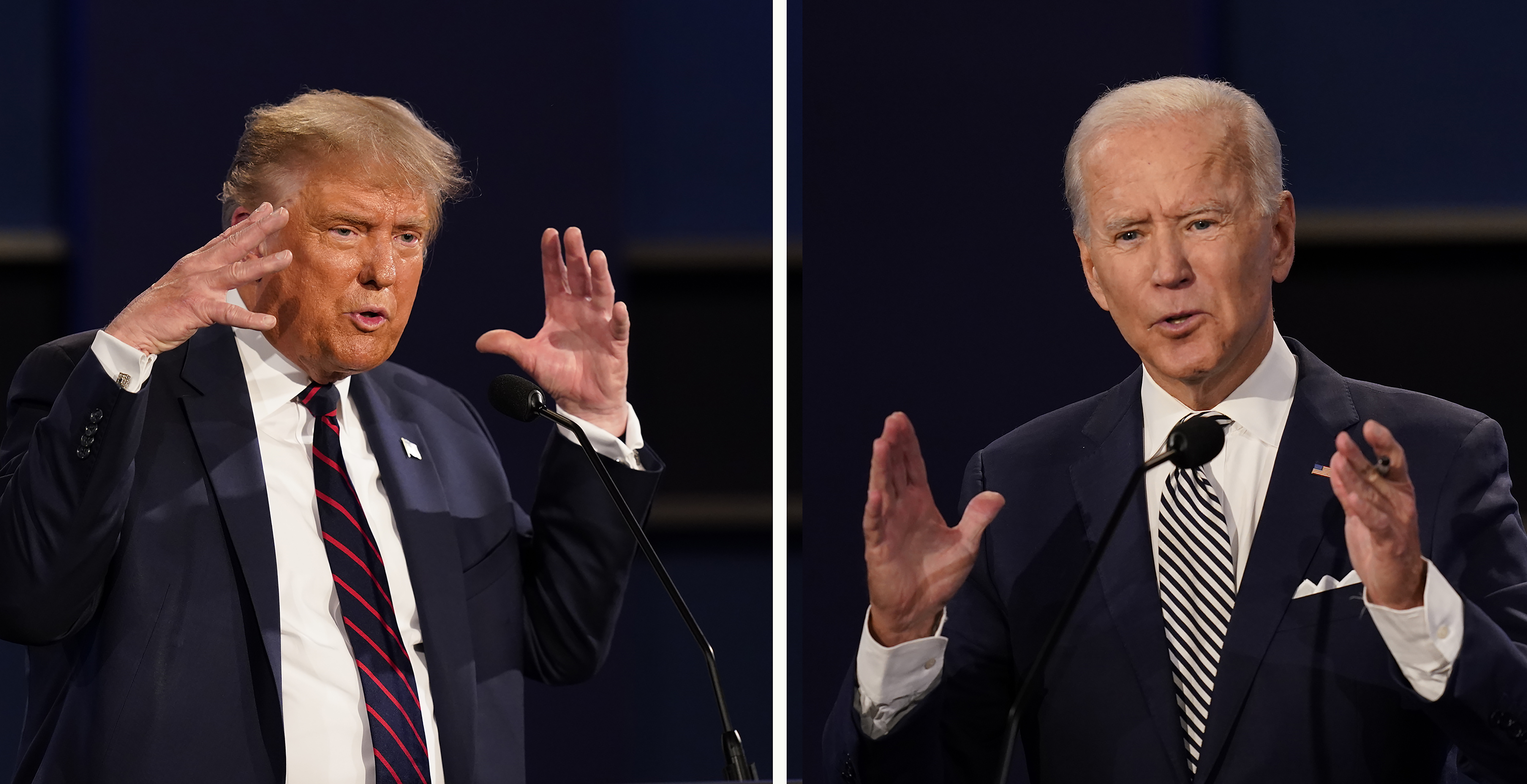 FILE - This combination of Sept. 29, 2020, file photos show President Donald Trump, left, and former Vice President Joe Biden during the first presidential debate at Case Western University and Cleveland Clinic, in Cleveland, Ohio. The Commission on Presidential Debates says the second Trump-Biden debate will be u2018virtualu2019 amid concerns about the president's COVID-19. Photo: AP
