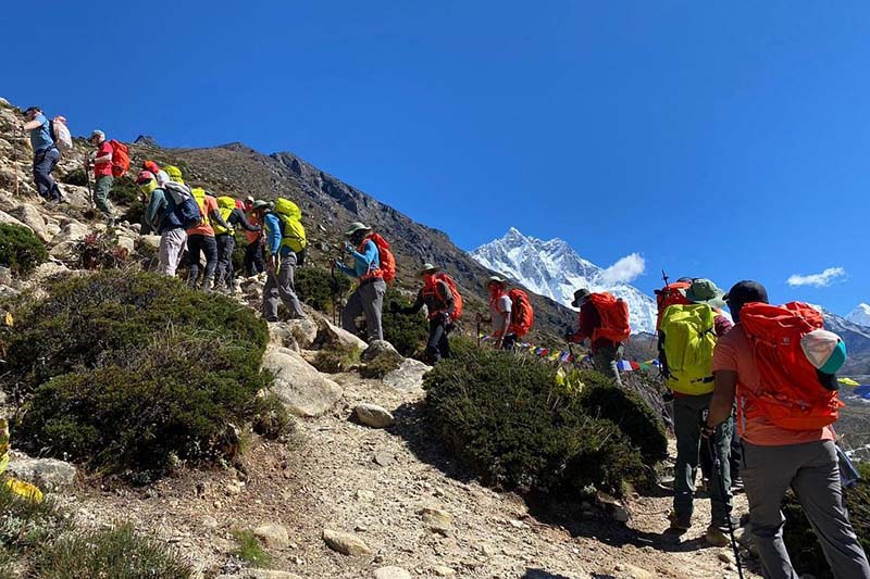 Bahrain Prince Mohamed Hamad Mohamed Al Khalifa along with record-holder Sherpa climbers heading to scale Mt Lobuche in the Everest region, on Saturday, October 3, 2020. Photo: THT