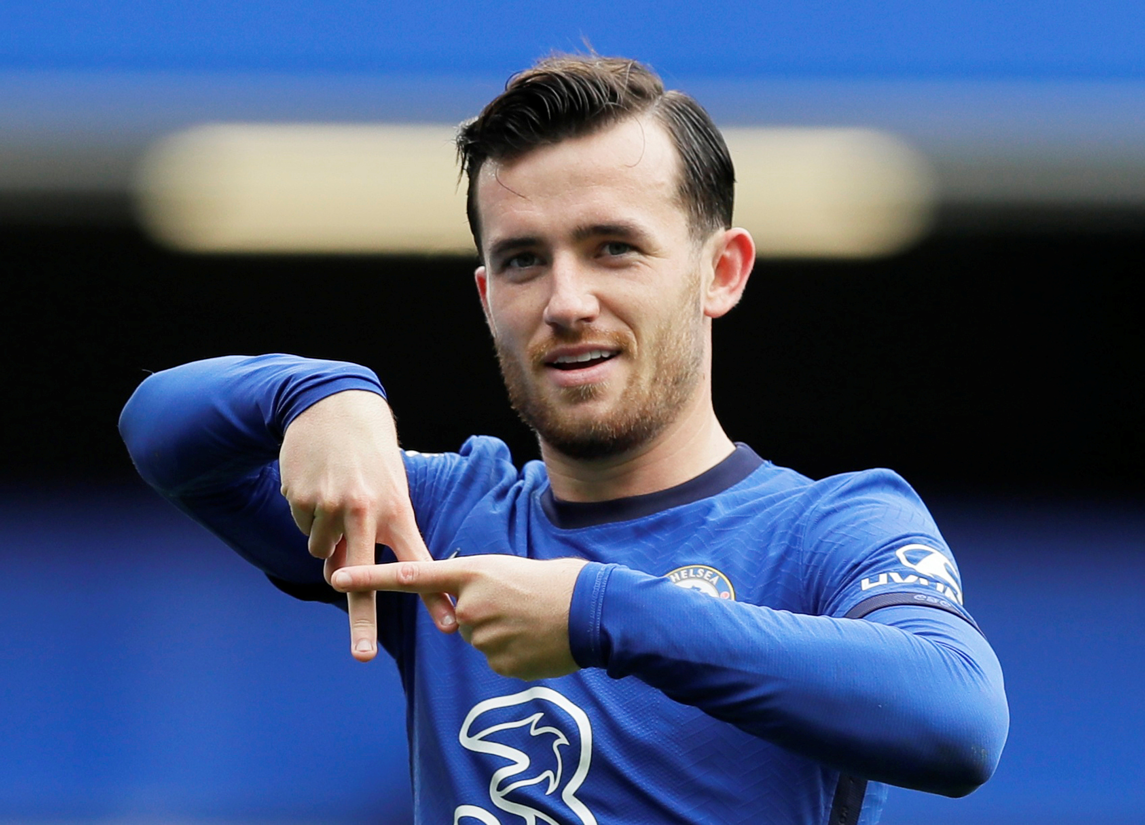 Chelsea's Ben Chilwell celebrates scoring their first goal  during the Premier League match between Chelsea  and Crystal Palace, at  Stamford Bridge, in  London, Britain, on  October 3, 2020. Photo: Pool via Reuters