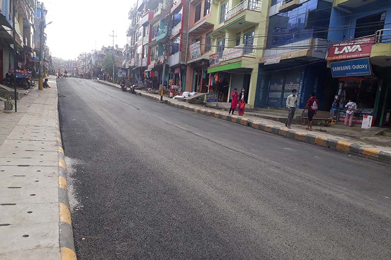 A view of road tarmacked with Asphalt Technology method, in Dhadingbesi Bazar, Nilkantha Municipality in Dhading district, on Monday, October 12, 2020. Photo: Keshav Adhikari/THT