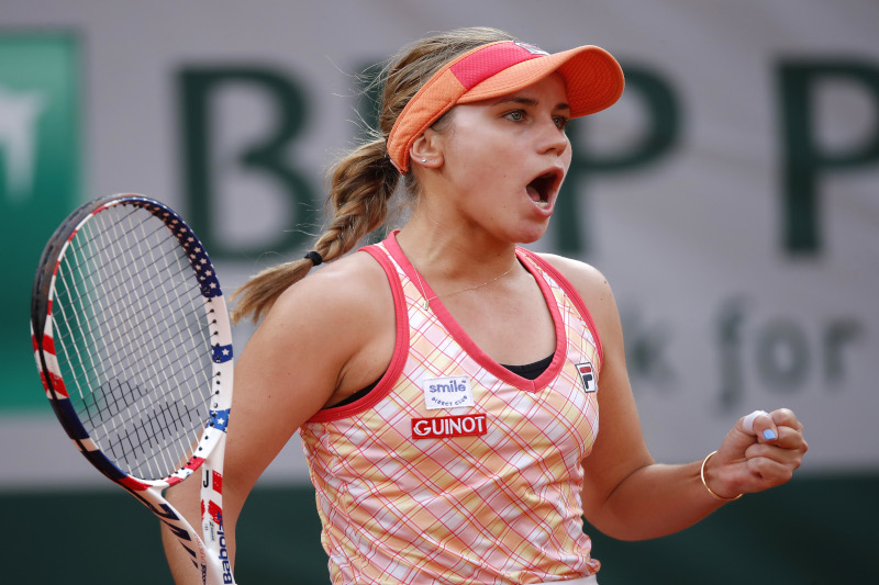 Sofia Kenin of the US reacts during her semi final match against Czech Republic's Petra Kvitova  during the French Open, at Roland Garros, in Paris, France, on October 8, 2020 . Photo: Reuters