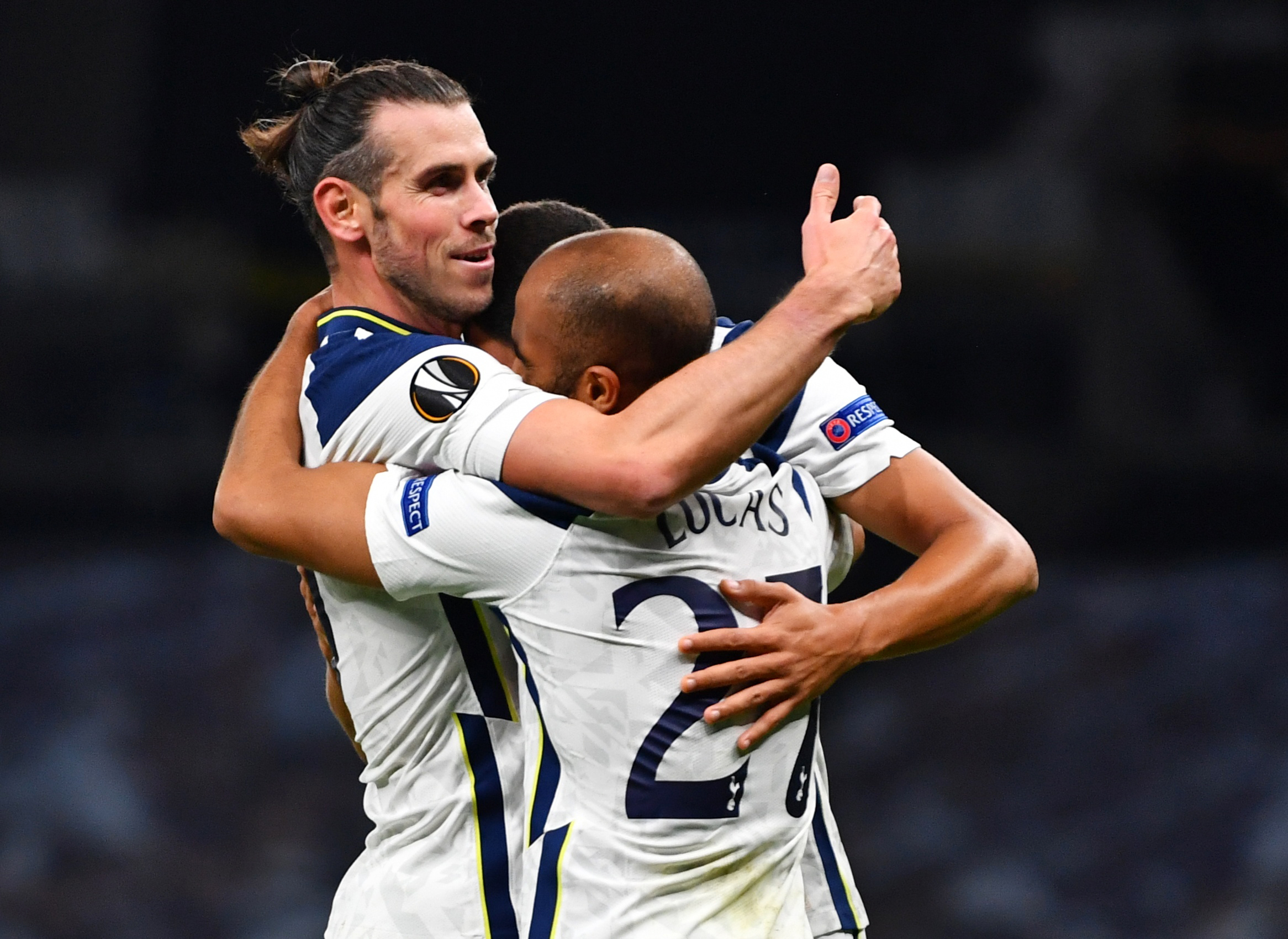 Tottenham Hotspur's Lucas Moura celebrates scoring their first goal with Gareth Bale during the Europa League Group J match between Tottenham Hotspur and LASK Linz, at Tottenham Hotspur Stadium, in London, Britain, on October 22, 2020. Photo: Reuters