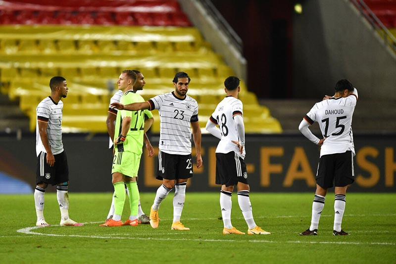 Germany players react end of the international friendly soccer match between Germany and Turkey in Cologne, Germany, Wednesday, October 7, 2020. Photo: AP