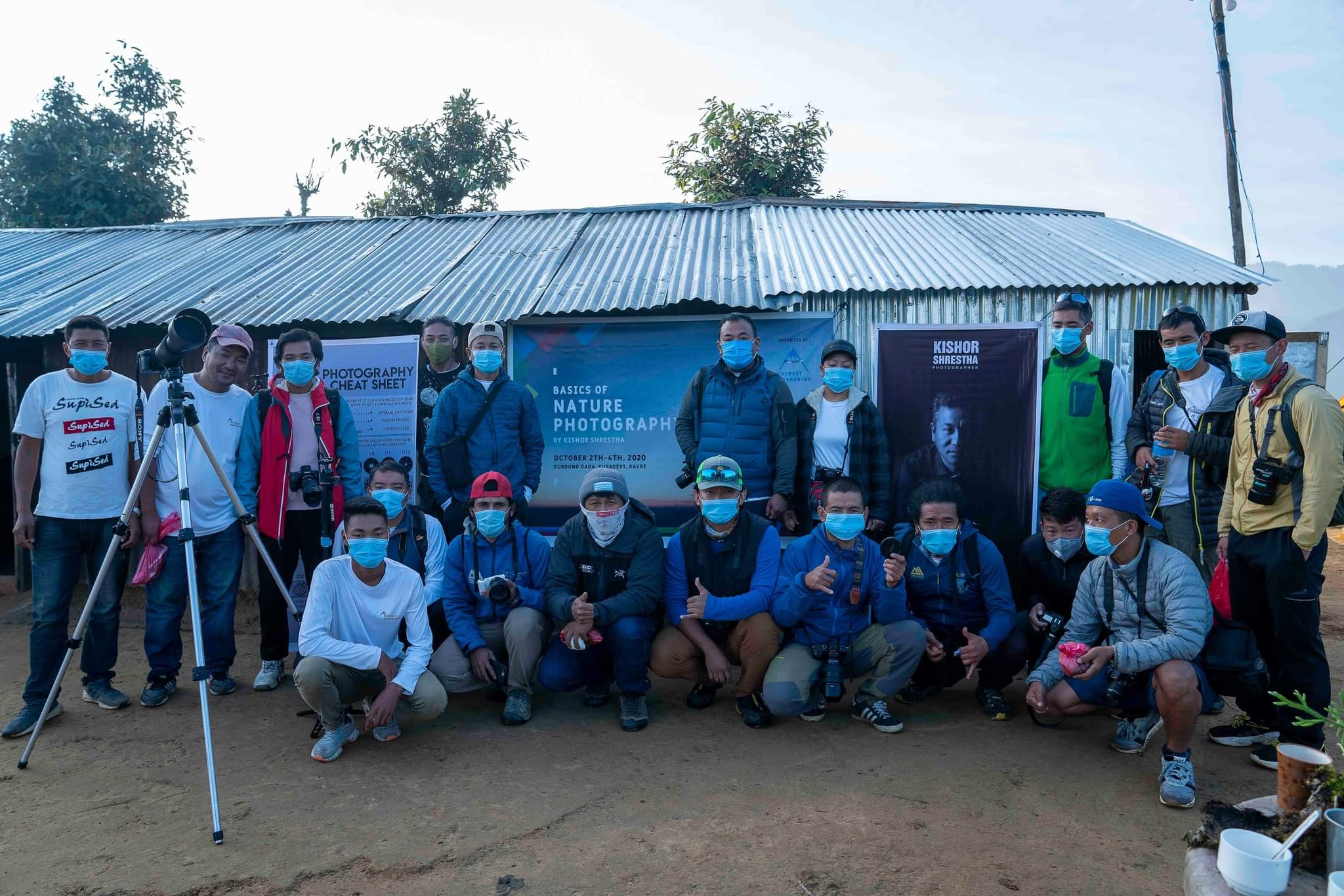 Participants pose for a portrait during three-days nature photography workshop in Kavre, on Sunday, October 04, 2020. Courtesy: Everest Awakening