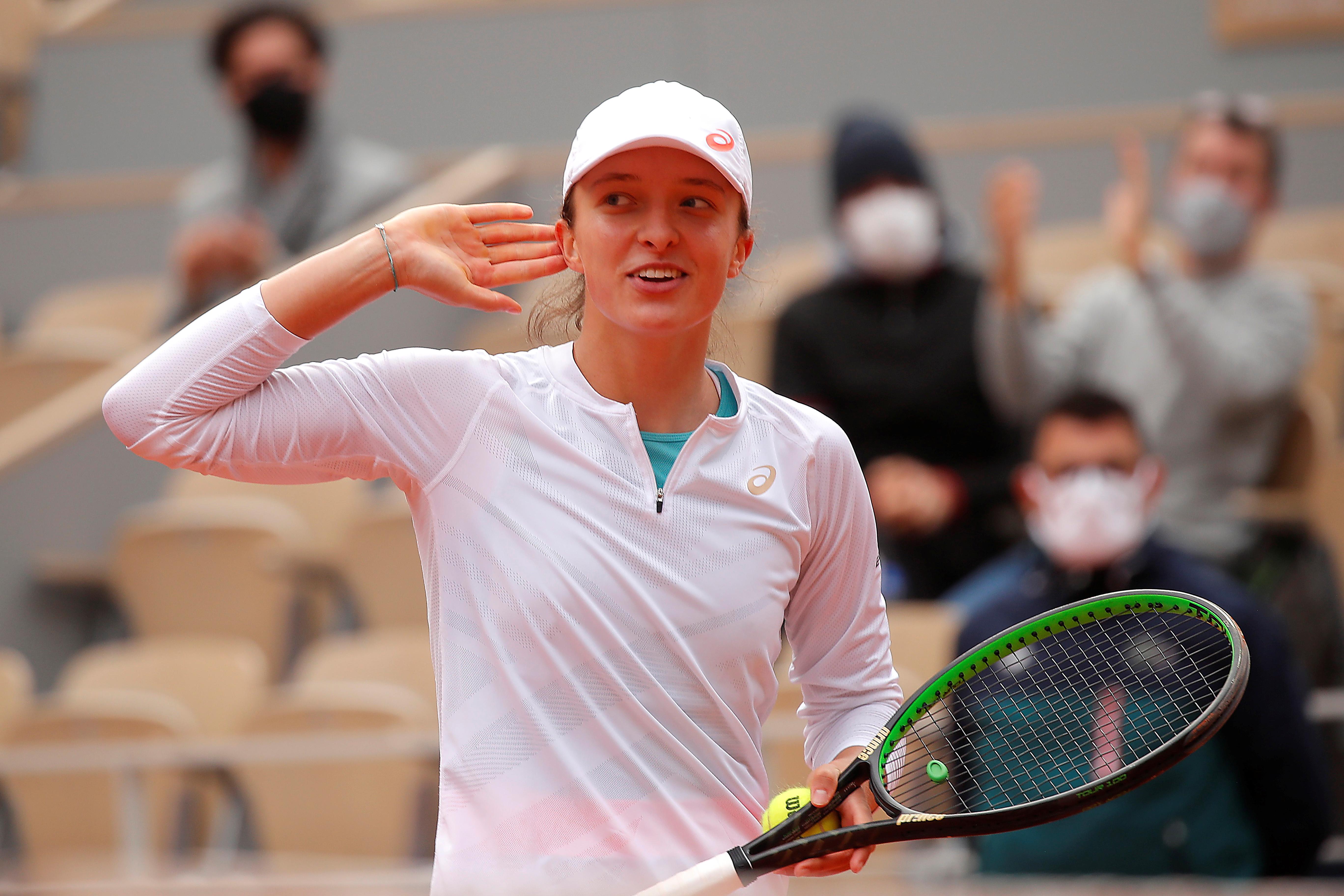 Poland's Iga Swiatek celebrates after winning her semi final match against Argentina's Nadia Podoroska. Photo: Reuters