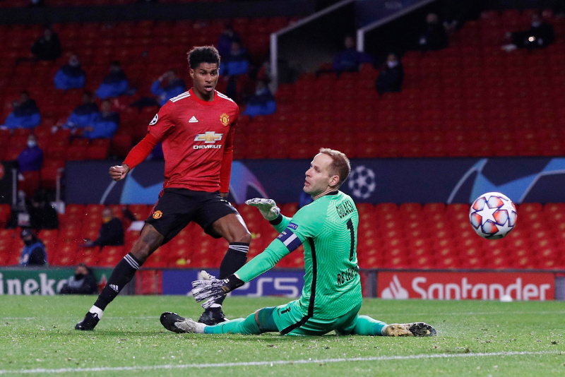 Manchester United's Marcus Rashford scores their second goal n during the Champions League  Group H match between Manchester United and RB Leipzig, at Old Trafford, in Manchester, Britain, on October 28, 2020. Photo: Reuters