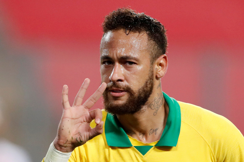 Brazil's Neymar celebrates scoring their fourth goal to complete his hat-trick during the World Cup 2022 South American Qualifiers match between Peru and Brazil, at Nacional Stadium, in Lima, Peru, on October 13, 2020. Photo: Paolo Aguilar/Pool via Reuters