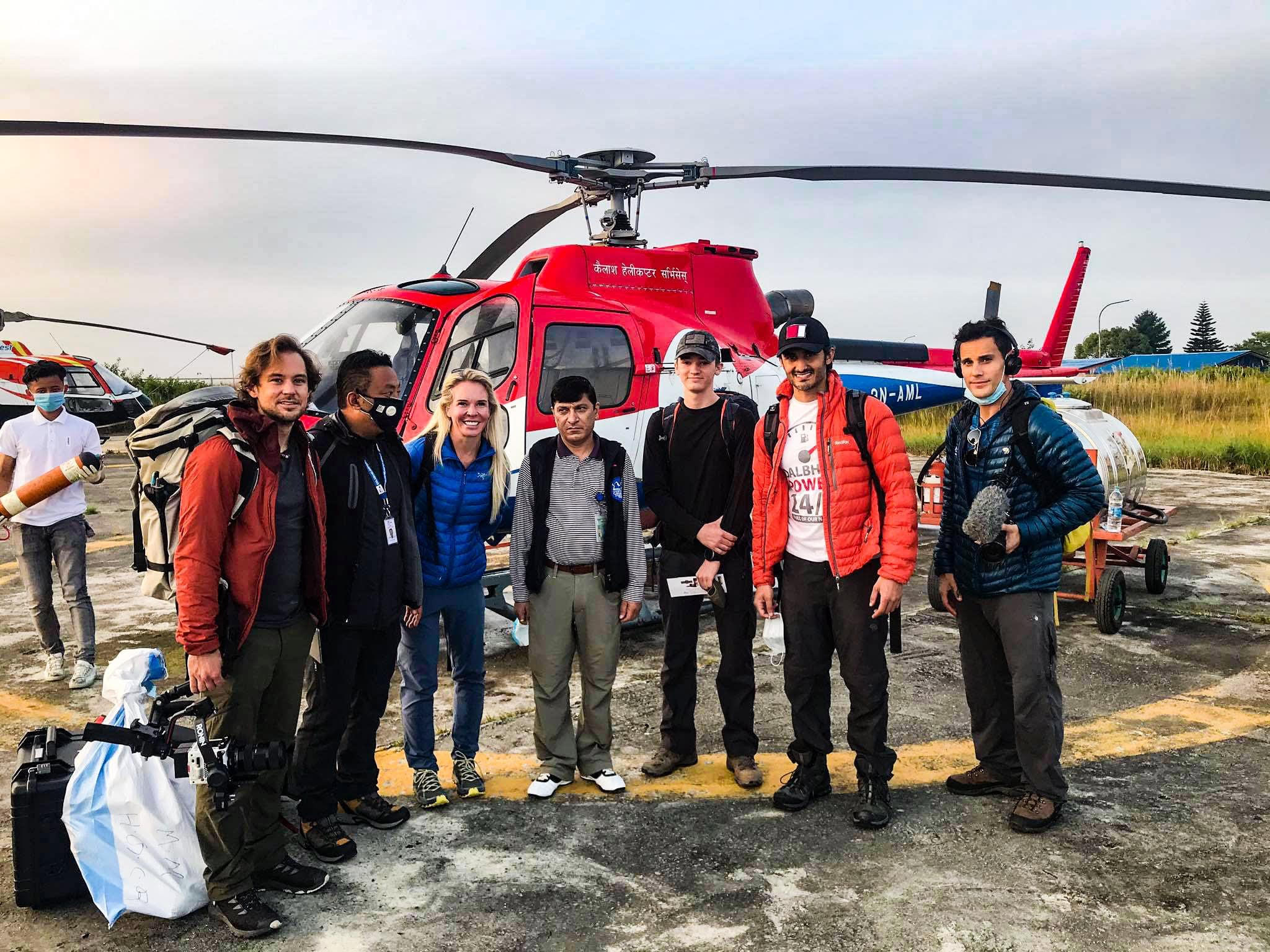 Prince of Qatar Sheikh Mohammed bin Abdulla Al Thani and his team boarding their flight with Kailash Helicopter to Lukla for an expedition of Mt Amadablam. Photo Courtesy: Kailash Helicopter