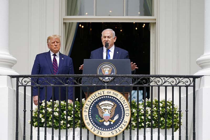 FILE - Israeli Prime Minister Benjamin Netanyahu speaks as President Donald Trump looks on, during the Abraham Accords signing ceremony on the South Lawn of the White House, in Washington, on September 15, 2020. Photo: AP