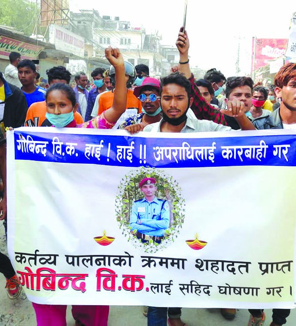 Family members and relatives staging a rally demanding martyru2019s status for Assistant Sub-inspector Govind BK , in Dhangadi, on Monday. Photo: THT