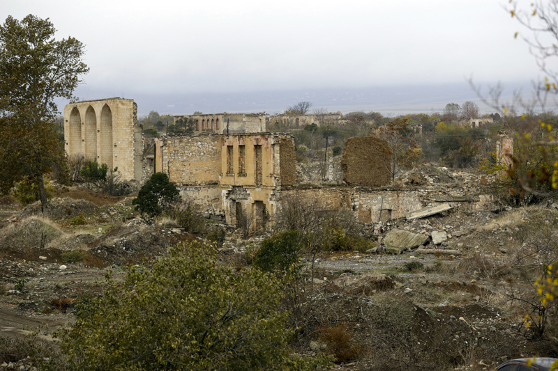 A view of a vast expanse of jagged concrete and houses reduced to shells in Agdam, prior to the Azerbaijani forces being handed control in the separatist region of Nagorno-Karabakh, Thursday, Nov. 19, 2020. Photo: AP