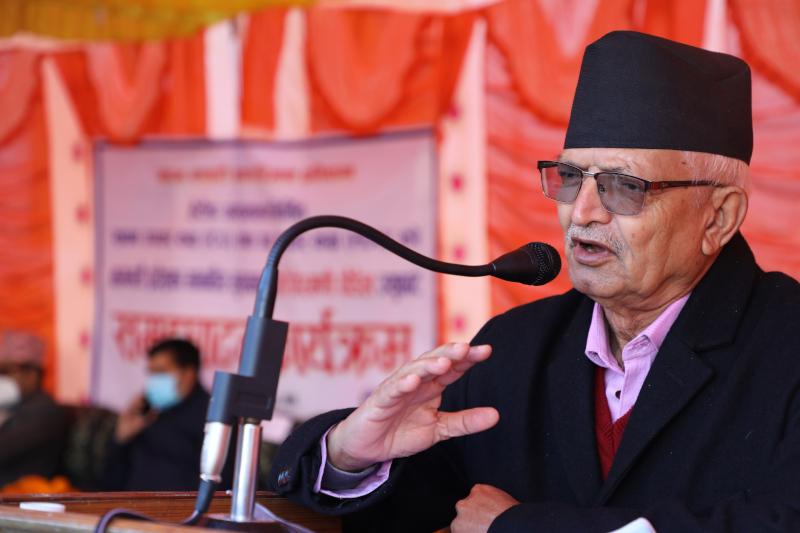 Bagmati Province Chief Minister Dormani Paudel speaking during the inauguration ceremony of the ICU unit at Hetauda Hospital, on Monday, November 30, 2020. Photo: Prakash Dahal/THT