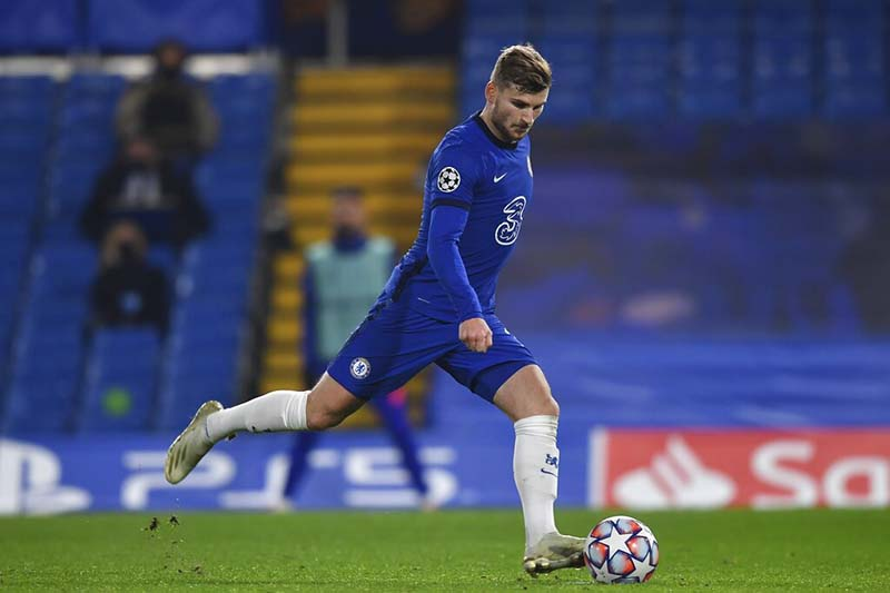 Chelsea's Timo Werner scores the second goal during the Champions League Group E soccer match between Chelsea and Rennes at Stamford Bridge, London, England, on Wednesday, November 4, 2020. Photo: Ben Stansall/Pool via AP