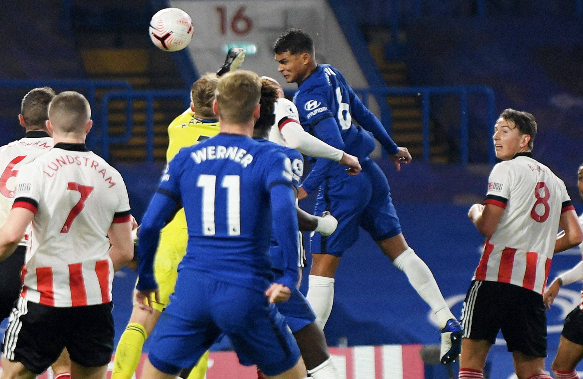 Chelsea's Thiago Silva scores their third goal n during the Premier League match between Chelsea and Sheffield United, at Stamford Bridge, in London, Britain, on November 7, 2020. Photo: Pool via Reuters