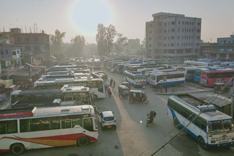 A view of buses parked in thei Bus Park in Dhangadhi Sub-metropolis, Kailali district, in november 2020. Photo: courtesy: Ramesh Baral