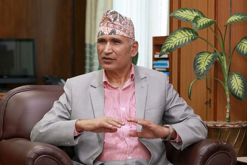Interview with Finance Minister and General Secretary of the ruling Nepal Communist Party (NCP) Bishnu Prasad Paudel, on Saturday, October 31, 2020. Photo: RSS