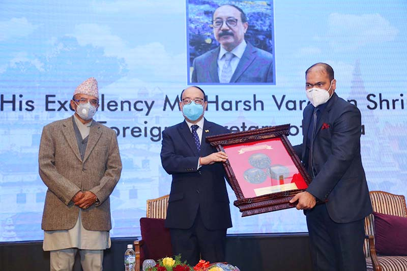 Indian Foreign Secretary Harsh Vardhan Shringla being felicitated at a programme organised by Asian Institute of Diplomacy and International Affairs, in Kathmandu, on Friday, November 27, 2020.. Photo courtesy: AIDIA