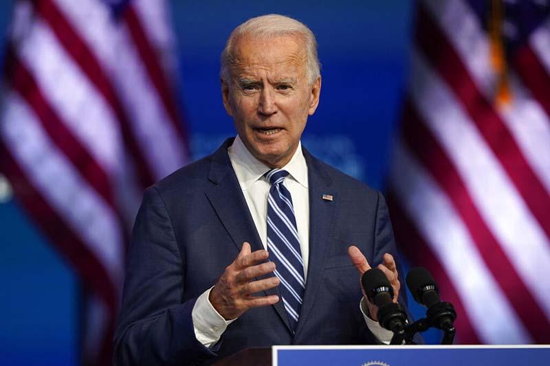 President-elect Joe Biden speaks on Tuesday, November 10, 2020, at The Queen theater in Wilmington, Delaware. Photo: AP/Carolyn Kaster