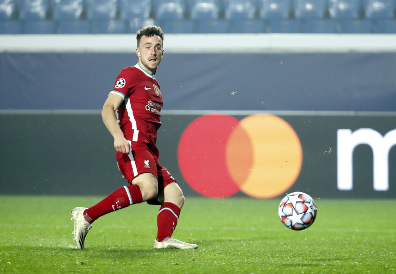 Liverpool's Diogo Jota scores their fifth goal to complete his hat-trick during the Champions League Group D match between Atalanta and Liverpool, at Stadio Atleti Azzurri, in Bergamo, Italy, on November 3, 2020. Photo: Reuters