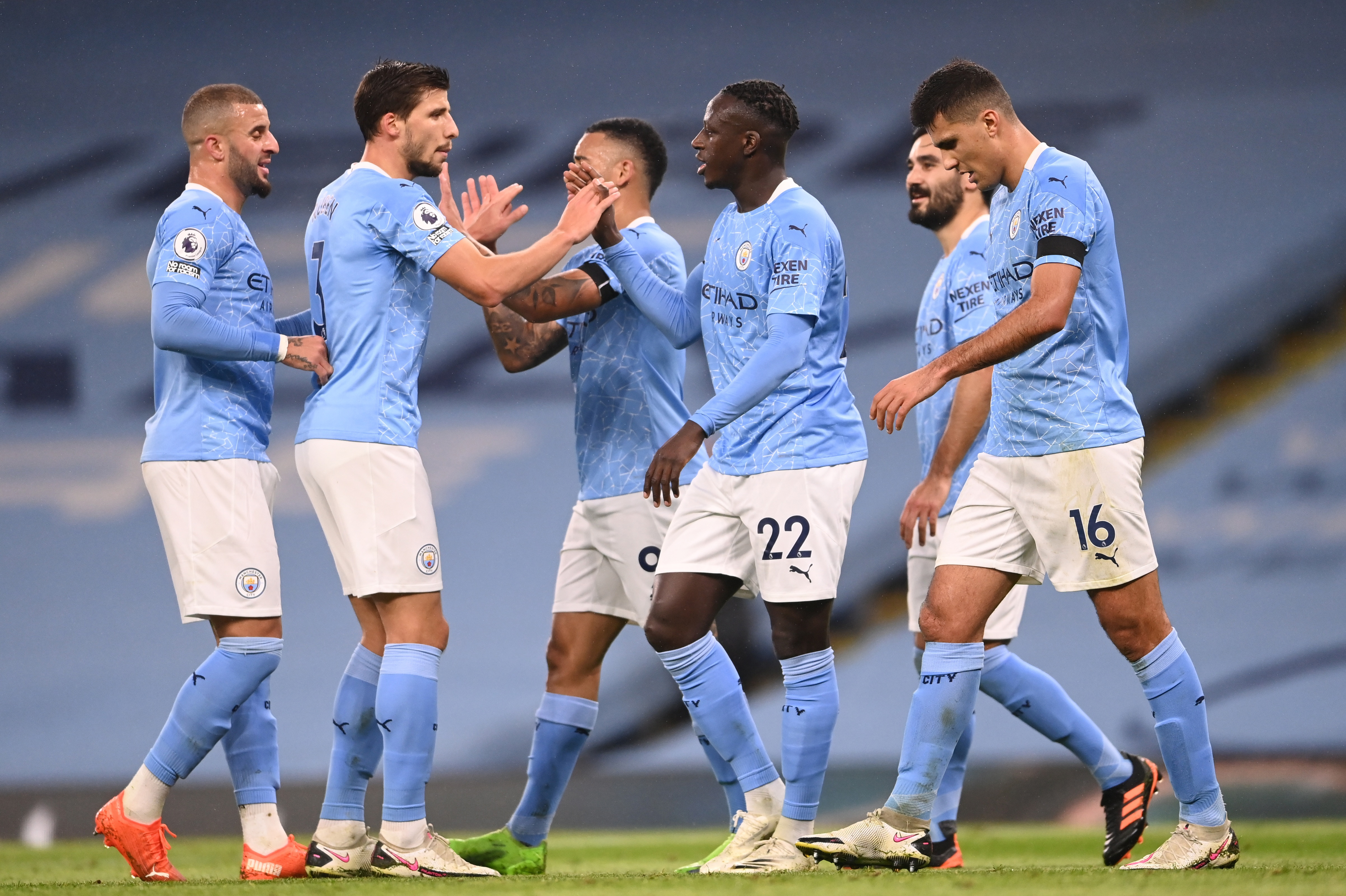 Manchester City's Benjamin Mendy celebrates scoring their third goal with teammates. Photo: Reuters