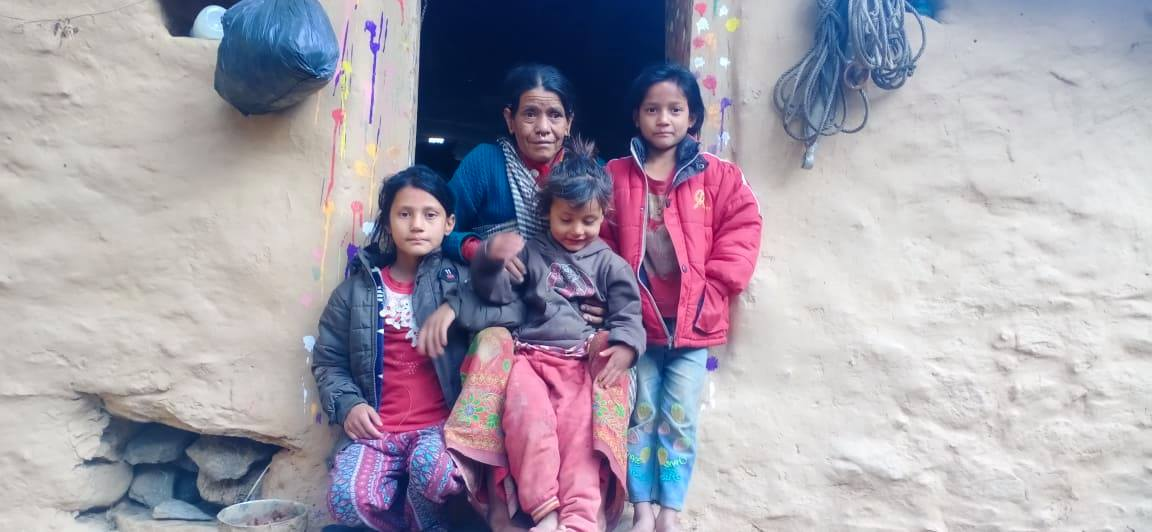 Siblings with their grandmother after the death of their father and abandonment of their mother in Rapka of Badhimakika Municipality-8 of Bajura district on Friday, November 20, 2020. Photo: Prakash Singh/ THT
