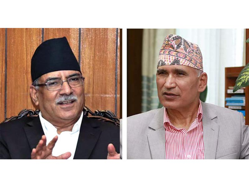 This combo image shows Nepal Communist Party (NCP) Co-chair Pushpa Kamal Dahal (left) and Finance Minister and the party's General Secretary Bishnu Prasad Paudel. Photo: THT