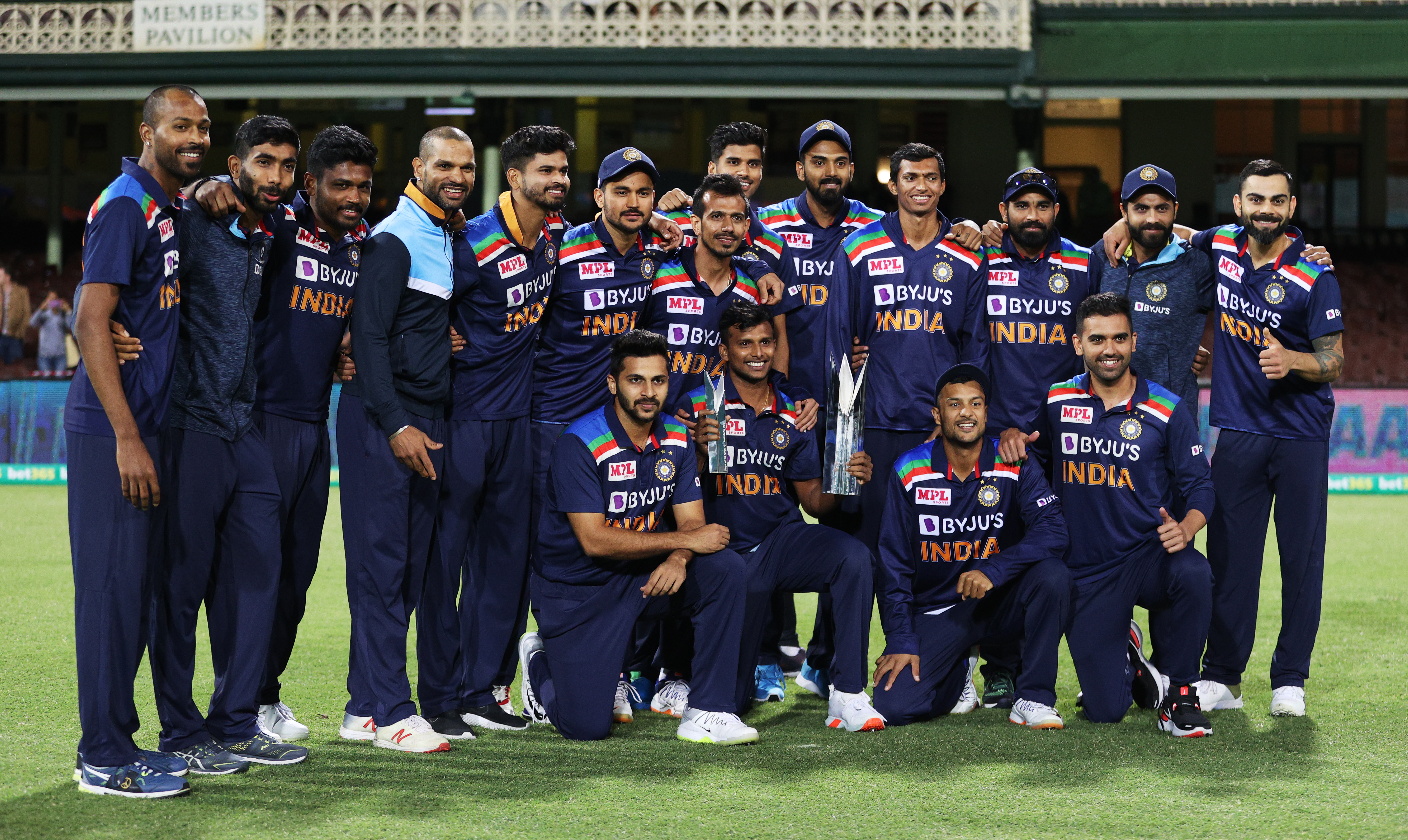 Third Twenty20 International - Australia v India - Sydney Cricket Ground, Sydney, Australia - December 8, 2020 India players pose as they celebrate with the trophy after winning the series. Photo: Reuters