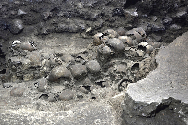A photo shows parts of an Aztec tower of human skulls, believed to form part of the Huey Tzompantli, a massive array of skulls that struck fear into the Spanish conquistadores when they captured the city under Hernan Cortes, at the Templo Mayor archaeology site, in Mexico City, Mexico September 22, 2020. Picture taken September 22, 2020. Photo:  INAH - National Institute of Anthropology and History/Handout via Reuters