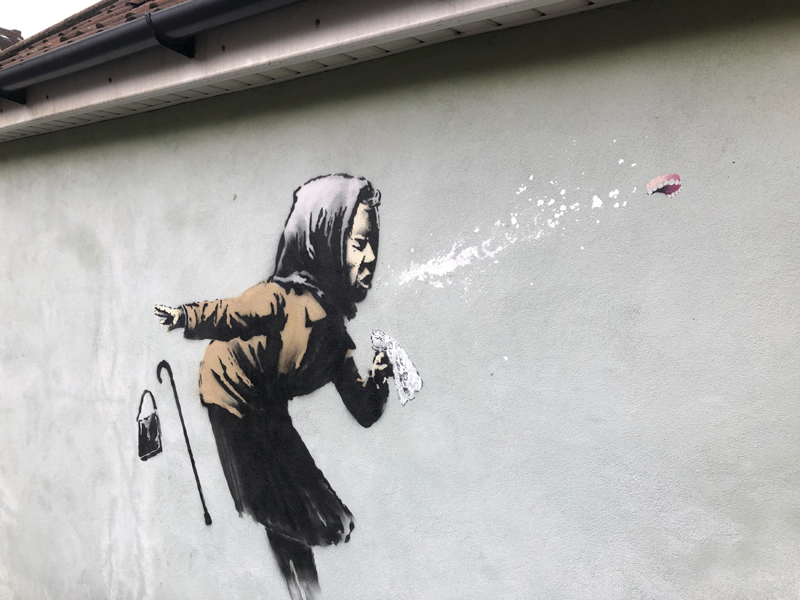 Banksy's latest mural titled u0093Aachoo!!u0094 that has appeared on a wall in Bristol, England, Thursday Dec. 10, 2020. Photo: Claire Hayhurst/PA via AP