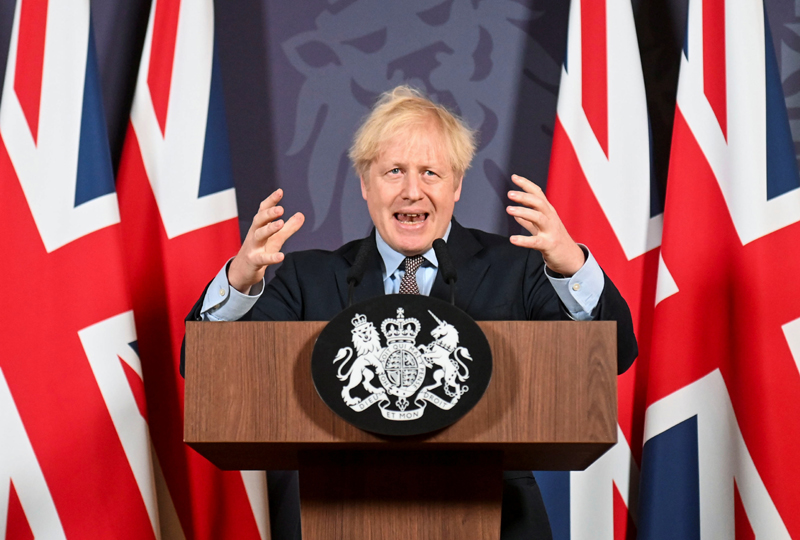 British Prime Minister Boris Johnson holds a news conference in Downing Street on the outcome of the Brexit negotiations, in London, Britain December 24, 2020. Photo: Paul Grover /Pool via Reuters