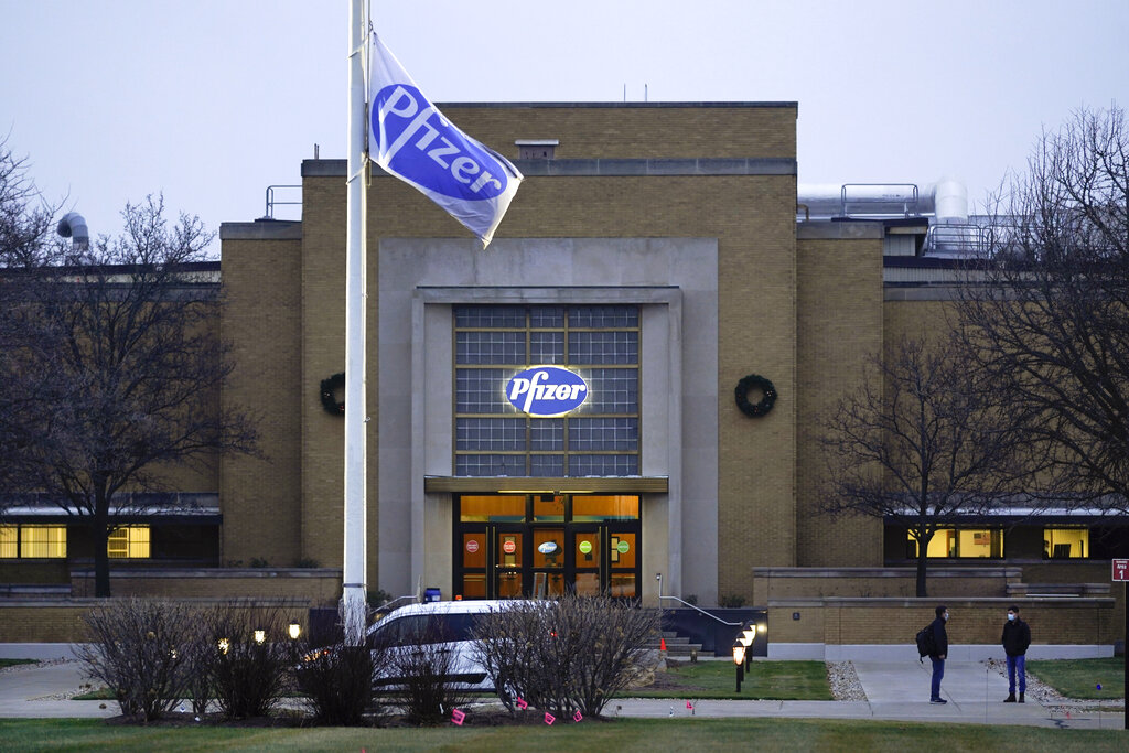 The Pfizer Global Supply Kalamazoo manufacturing plant is shown in Portage, Michigan, on Friday, December 11, 2020. The US gave the final go-ahead Friday to the nationu2019s first COVID-19 vaccine, marking what could be the beginning of the end of an outbreak that has killed nearly 300,000 Americans. Photo: AP