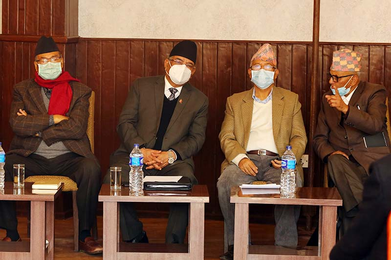 Senior leader Jhalanath Khanal (left), Pushpa Kamal Dahal (second from left) among other leaders attend the standing committee meeting  held by Dahal-Nepal faction of Nepal Communist Party (NCP), in Babarmahal, Kathmandu, on Thursday, December 24, 2020. Photo: RSS