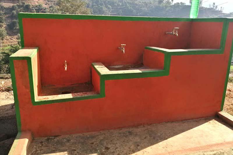 This image shows water taps fixed to a wall in Pidagaun, Gajuri Rural Municipality-5 of Dhading district, on Thursday, December 31, 2020. Photo: Keshav Adhikari/THT